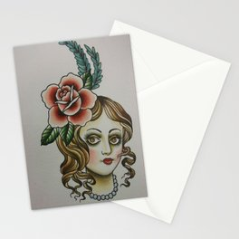 Victorian Showgirl with Rose Stationery Cards