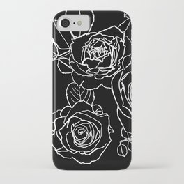 Feminine and Romantic Rose Pattern Line Work Illustration on Black iPhone Case