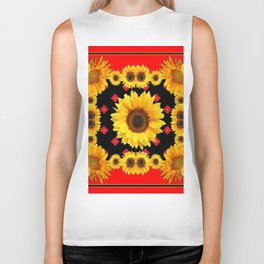 Red Western Yellow Sunflowers Art Biker Tank