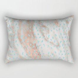 Rose gold metal marble with glitter aqua blue raindrops Rectangular Pillow