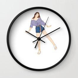 Cute Girl Cute Pose Wall Clock
