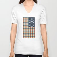 plaid V-neck T-shirts featuring Plaid Flag. by Nick Nelson