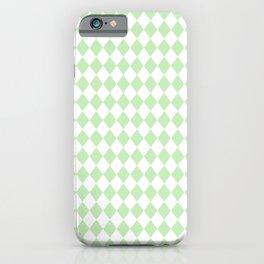 Spearmint Mint Green Modern Diamond Pattern on White iPhone Case