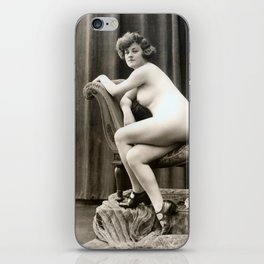 Vintage Nude Art Studies No. 61 Lady On Chaise Longue iPhone Skin