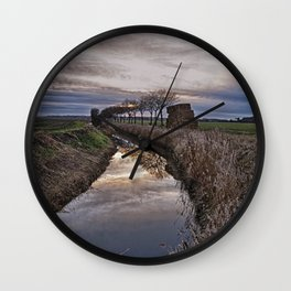 Landscape of The Marsh At Sundown Wall Clock