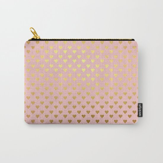 Gold and pink sparkling and shiny Hearts pattern Carry-All Pouch