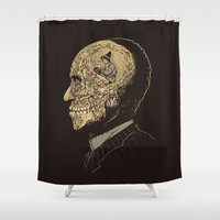zombies Shower Curtains featuring Why zombies want brains by Alex Solis