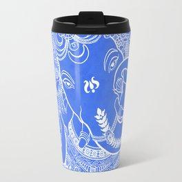 Ganesha Lineart Blue White Travel Mug