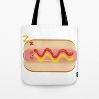 hot dog Tote Bags featuring hot dog by Alba Blázquez