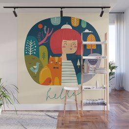 Girl with Cat Wall Mural