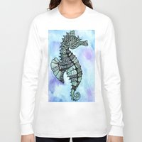 tatoo Long Sleeve T-shirts featuring Tatoo Seahorse by PepperDsArt