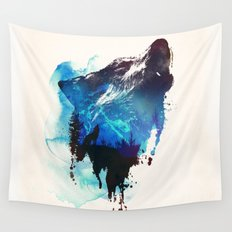 mountain wolf Wall Tapestry