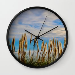 Fort Bragg's Ocean Cattails Wall Clock