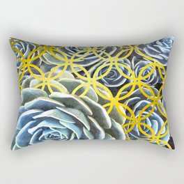 Succulent Geometric Circle Rectangular Pillow