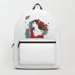 Woman in Dress from Gibiscus Flowers and Butterflies Backpack