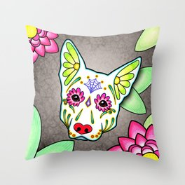 German Shepherd in White - Day of the Dead Sugar Skull Dog Throw Pillow