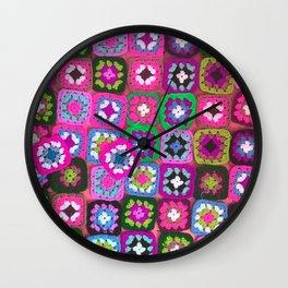 Pink crochet vintage granny squares craft Wall Clock