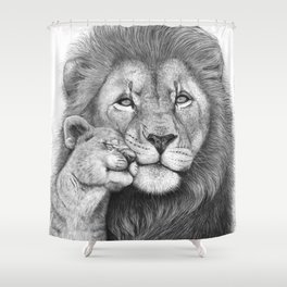 Lion with a baby Shower Curtain