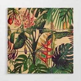Vintage Tropical Flora (green) Wood Wall Art