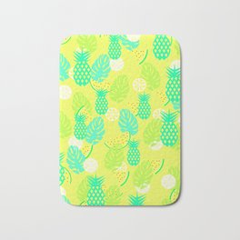 Watermelons and pineapples in yellow Bath Mat