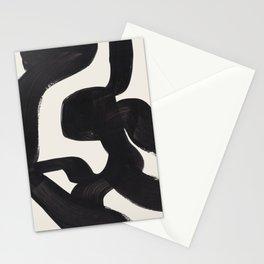 Mid Century Modern Minimalist Abstract Art Brush Strokes Black & White Ink Art Maze Stationery Cards