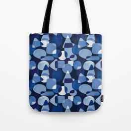 Blue Watercolour Geometric on Dark Blue Background Tote Bag
