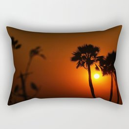 The Red Tropical Sunset (Color) Rectangular Pillow