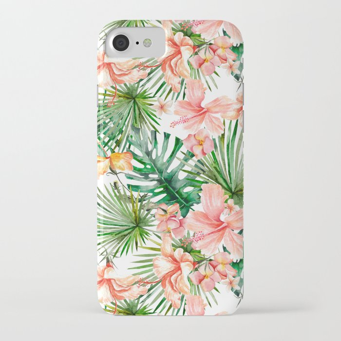 tropical jungle hibiscus flowers - floral iphone case