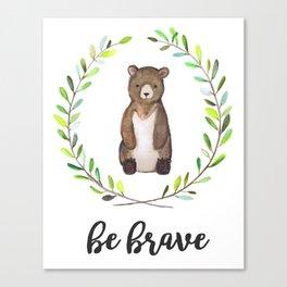 Woodland Creature Animal Tribal Nursery Bear Baby Art Wall Decor Print Be Brave Wreath Watercolor Canvas Print