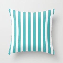 Vertical Stripes (Teal & White Pattern) Throw Pillow