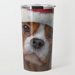 Drawing Dog breed Cavalier King Charles Spaniel  in red hat of Santa Claus Travel Mug