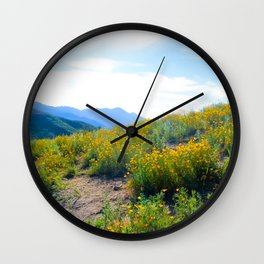 yellow poppy flower field with green leaf and blue cloudy sky in summer Wall Clock