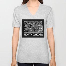 North Dakota Map  Unisex V-Neck