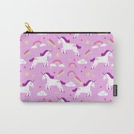 Unicorns happy clouds rainbows magical pony pattern pink pastels Carry-All Pouch