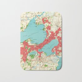 Vintage Map of Madison Wisconsin (1959) Bath Mat