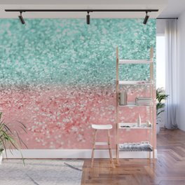 Summer Vibes Glitter #1 #coral #mint #shiny #decor #art #society6 Wall Mural