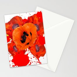 ORANGE POPPIES WATERCOLOR SPLATTER Stationery Cards