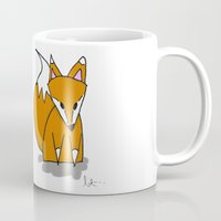 mr fox Mugs featuring Mr. Fox by Laura Taylor