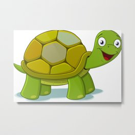 Cartoon Turtle Metal Print