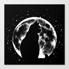 Cat Moon Silhouette Canvas Print