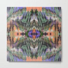 geometric symmetry pattern abstract background in green purple orange Metal Print