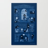 library Canvas Prints featuring Silence in the Library by Anna-Maria Jung