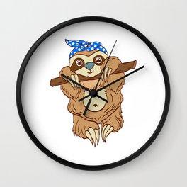"For Animal Lovers Cute Sloth Shirt For Animal Lovers ""Sloth"" T-shirt Design Lazy Sleepy Wall Clock"