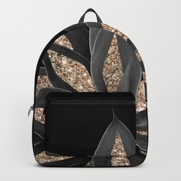 Gray Black Agave with Gold Glitter #1 #shiny #tropical #decor #art #society6 Backpack