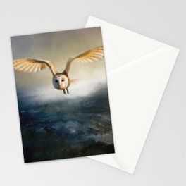 An owl flies over the lake Stationery Cards