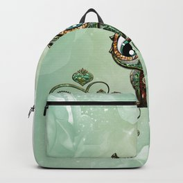 Cute little owl, green diamond Backpack