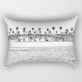 Vintage Newport Beach Print {4 of 4} | Photography Ocean Palm Trees B&W Tropical Summer Sky Rectangular Pillow
