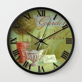 022  Wall Clock Cups and Flowers in the Garden Wall Clock