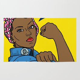 Black Rosie the Riveter Rug