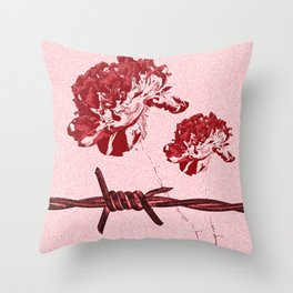 Barbed Wire Peony Print Throw Pillow